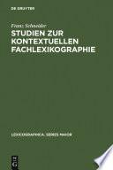 Studien zur kontextuellen Fachlexikographie