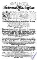Analecta fastorum Zittaviensium oder historischer Schauplatz der löblichen alten Sechs-Stadt des Marggraffthums Ober-Lausitz Zittau