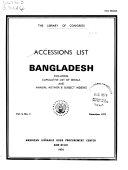Accessions List, Bangladesh