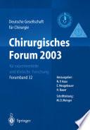 Chirurgisches Forum 2003 für experimentelle und klinische Forschung