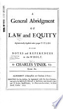 A General Abridgement of Law and Equity
