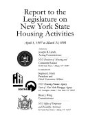 Report to the Legislature on     New York State Housing Activities