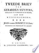 Tweede briev van Gerardus Kuypers, predikant te Niewkerk op de Veluwe, aan ... Joan vanden Honert, T.H. zoon, professor en predikant te Leiden