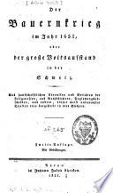 Der Bauernkrieg im Jahre 1653 oder der große Volksaufstand in der Schweiz