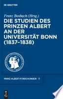 Die Studien des Prinzen Albert an der Universität Bonn (1837-1838)