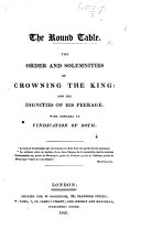 download ebook the round table. the order and solemnities of crowning the king: and the dignities of his peerage. with remarks in vindication of both pdf epub