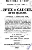 illustration du livre Nouveau manuel complet des jeux de calcul et de hasard