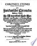 chronica cygnea oder beschreibung der sehr alten l blichen und churf rstlichen stadt zwickau