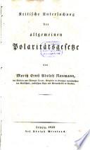 Kritische Untersuchung der allgemeinen Polaritätgesetze