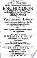Enchiridion lexici latino germanici