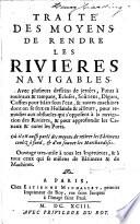 illustration du livre Traité des moyens de rendre les rivieres navigables