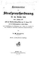 Kommentar zur Strafprozessordnung für das Deutsche Reich