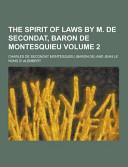download ebook the spirit of laws by m. de secondat, baron de montesquieu volume 2 pdf epub