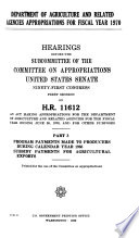 Hearings, Reports and Prints of the Senate Committee on Appropriations
