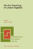 download ebook on the teaching of linear algebra pdf epub