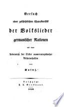 Versuch einer geschichtlichen Charakteristik der Volkslieder germanischer Nationen