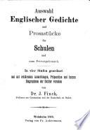 Auswahl Englischer Gedichte Und Prosast Cke F R Schulen Und Zum Privatgebrauch