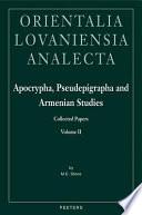 Apocrypha, Pseudepigrapha and Armenian Studies