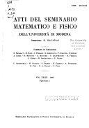 Atti del Seminario matematico e fisico dell'Università di Modena