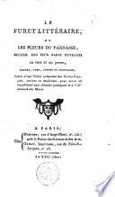 Le furet litt  raire  ou les fleurs du Parnasse