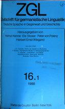 Zeitschrift für germanistische Linguistik