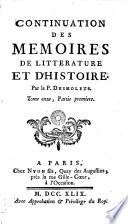 Mémoires de littérature et d'histoire