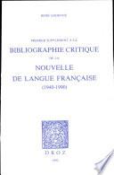 Premier suppl  ment    la  Bibliographie critique de la Nouvelle de langue fran  aise    1940 1990
