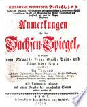Hieronymi Christoph. Meckbachs ... Anmerkungen über den Sachsenspiegel