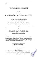A Historical Account of the University of Cambridge, and Its Colleges