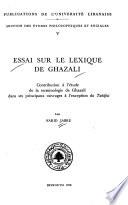 Essai Sur Le Lexique De Ghazali