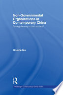Non Governmental Organizations In Contemporary China book