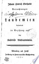 Johann Heinrich Eberhards Betrachtungen über die Laudemien