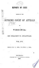 Cases Decided in the Supreme Court of Appeals of Virginia