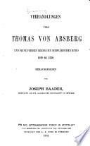 Verhandlungen über Thomas von Absberg und seine fehden gegen den Schwäbischen bund 1519-1530