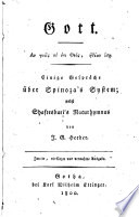 Gott     Einige Gespr  che   ber Spinoza s System  nebst Shaftesburi s Naturhymnus
