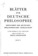 Bl  tter f  r deutsche Philosophie