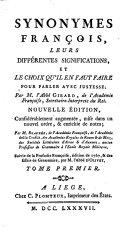 Synonymes françois, tome premier