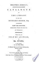 Catalogue of the Library of the Late Richard Heber