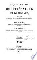 Leçons Anglaises de Littérature Et de Morale Sur Le Plan Des Leçons Et Des Leçons Latines