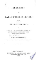 Elements of Latin pronunciation