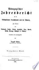Pädagogischer jahresbericht für die volksschullehrer Deutschlands und der Schweiz