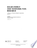 Solar Energy and Nonfossil Fuel Research