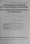 Schweizerische Zeitschrift f  r Volkswirtschaft und Statistik
