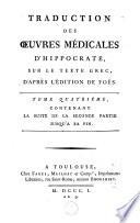 Traduction des oeuvres médicales d'Hippocrate sur le texte grec, d'après l'édition de Foës