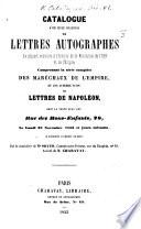 Catalogue de lettres autographes, provenant du cabinet de feu M. J. J. de Bure, dont la vente aura lieu le jeudi 22 et le vendredi 23 décembre 1853, etc. MS. notes of prices