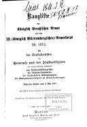 Dienstalters Liste der Offiziere der K  niglich Preussischen Armee und des XIII  K  niglich W  rttembergischen  Armeekorps