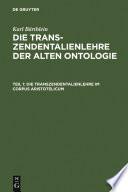 Die Transzendentalienlehre im Corpus Aristotelicum