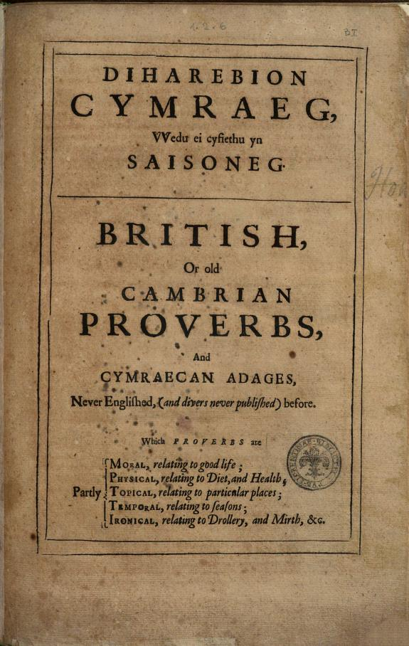 Lexicon Tetraglotton  an English French Italian Spanish Dictionary  Whereunto is Adjoined a Large Nomenclature of the Proper Terms  in All the Four  Belonging to Several Arts and Sciences     Divided Into Fiftie Two Sections  with Another Volume of the Choicest Proverbs in All the Said Toungs   consisting of Divers Compleat Tomes  and the English Translated Into the Other Three     Moroever  There are Sundry Familiar Letters and Verses Running All in Proverbs     By the Labours  and Lucubrations of James Hovvell