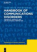 Handbook of Communication Disorders Book