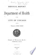 Report of the Dept  of Health of the City of Chicago